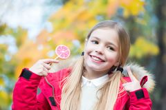 Kinderpunktfinger an der Süßigkeit auf dem Stock im Freien Lizenzfreie Stockfotografie