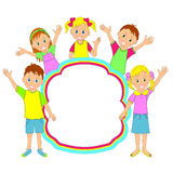 Kinderrahmen lächelnde und wellenartig bewegende Kinder, Jungen und Mädchen Stockbilder