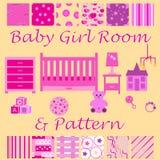 Kinderraum für das neugeborene Mädchen Babyschlafzimmer mit den nahtlosen Mustern der Möbel und der Tapete eingestellt Lizenzfreies Stockfoto