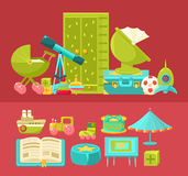 Kinderraum-Innenraum und Illustrationen des Element-Satz-zwei Stockbild