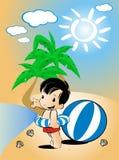 Kinderschwimmen auf Strand Lizenzfreies Stockfoto