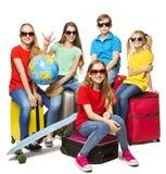 Kindersommer-Weltreise, junge Schüler-Lager-Reise stockbilder