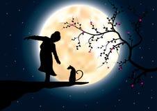 Kinderspiel auf einer Klippe mit einer Katze, Vektorillustrationen Lizenzfreies Stockbild