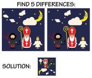 Kinderspiel - finden Sie 5 Unterschiede bezüglich der Bilder, mit Lösung, netter Karikaturgrußkarte mit Sankt Nikolaus, Engel und vektor abbildung