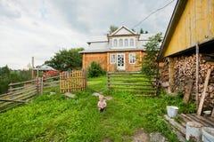 Kinderspiel im Freien auf hölzernem Haus der Vergangenheit des grünen Grases Stockbilder