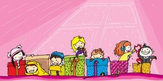 Kinderspiel im Geschenk stockfoto