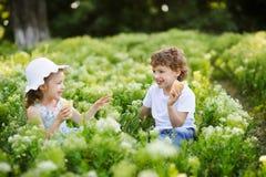Kinderspiel zusammen im Garten Stockbilder