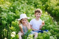 Kinderspiel zusammen im Garten Lizenzfreie Stockfotografie
