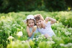 Kinderspiel zusammen im Garten Stockfoto