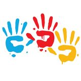 Kinderspielerischer Handabdrücke-Vektor stock abbildung