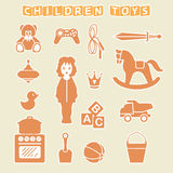 Kinderspielwaren-Souvenirladen-Satz, Vektor-Illustration Lizenzfreies Stockfoto