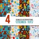 Kinderspielwaren-Spielplatz-nahtloser Vektor-Muster-Satz Lizenzfreie Stockfotos