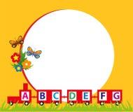 Kinderspielzeugzug-Rahmenhintergrund Lizenzfreies Stockbild