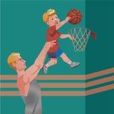 Kindersport mit Eltern - Basketball Auch im corel abgehobenen Betrag Lizenzfreie Stockfotos