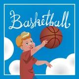 Kindersport mit Eltern, Basketball Vektorkalligraphie Lizenzfreies Stockfoto