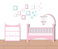 Kindertagesstättenraum Baby-Raum-flache Vektor-Illustration Stockfoto