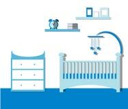 Kindertagesstättenraum Junge Baby-Rauminnenraum mit Möbeln Flacher Vektor Stockfotografie