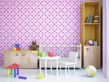 Kindertagesstätte mit einem Bett Stockbilder