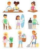 Kindervektor-Reinigungsräume und das Helfen ihrer Mamahausarbeitzeichentrickfilm-figuren räumen bunten Satz der Illustration mit  vektor abbildung
