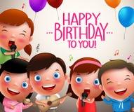 Kindervektorcharaktere, die alles Gute zum Geburtstag und glückliche spielende Musikinstrumente singen Lizenzfreies Stockbild