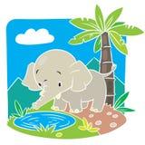 Kindervektorillustration des Elefanten. Stockbilder
