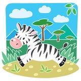 Kindervektorillustration des kleinen Zebras Lizenzfreies Stockfoto