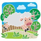 Kindervektorillustration von kleinen Schafen Lizenzfreie Stockfotografie