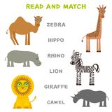 Kinderwörter, die das Spielarbeitsblatt gelesen und Match lernen Lustiges Tierzebraflusspferdnashornlöwegiraffen-Kamel Lernspiel  Lizenzfreies Stockfoto
