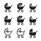 Kinderwagen eenvoudige pictogrammen royalty-vrije illustratie