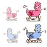Kinderwagen für Mädchen und Jungen lizenzfreie abbildung