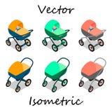 Kinderwagen im isometrics in den verschiedenen Winkeln Stock Abbildung