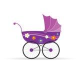 Kinderwagen in roze voor meisjes vectorillustratie Royalty-vrije Stock Afbeelding