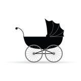 Kinderwagen vectorillustratie in zwarte Royalty-vrije Stock Foto