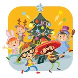 Kinderweihnachtskarnevalspartei-Vektorillustration stock abbildung