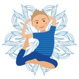 Kinderyoga-Haltungs-Vektor-Illustration Kind, das Übungen tut Lage für Kind Gesunder Kinderlebensstil Babygymnastik sport Stockfotografie