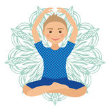 Kinderyoga-Haltungs-Vektor-Illustration Kind, das Übungen tut Lage für Kind Gesunder Kinderlebensstil Babygymnastik sport Lizenzfreie Stockfotos