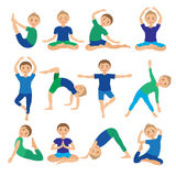 Kinderyoga wirft Vektor-Illustration auf Kind, das Übungen tut Lage für Kind Gesunder Kinderlebensstil Babygymnastik sport Lizenzfreies Stockfoto