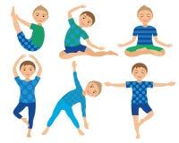 Kinderyoga wirft Vektor-Illustration auf Kind, das Übungen tut Lage für Kind Gesunder Kinderlebensstil Babygymnastik sport Stockbilder
