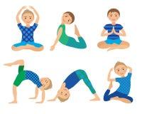 Kinderyoga wirft Vektor-Illustration auf Kind, das Übungen tut Lage für Kind Gesunder Kinderlebensstil Babygymnastik sport Stockbild