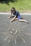 Kinderzeichnung auf Asphalt Lizenzfreie Stockfotografie