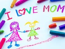 Kinderzeichnung der Mutter ihre Tochter halten Stockbild