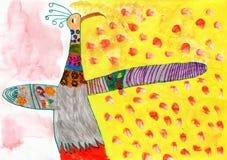 Kinderzeichnung des Pfau-Vogels stockbilder