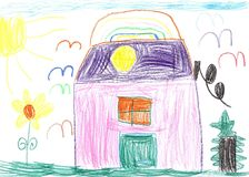 Kinderzeichnung eines Hauses, der Blumen und der Vögel Lizenzfreies Stockfoto