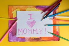Kinderzeichnung für Mama Lizenzfreies Stockfoto