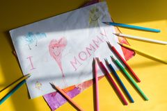 Kinderzeichnung für Mama Stockbilder
