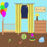 Kinderzimmer in der Art flach Stockfotos