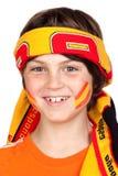 Kindgebläse des spanischen Teams mit einem Schal Lizenzfreies Stockfoto