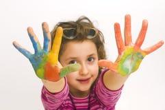 Kindhände gemalt Stockfotografie
