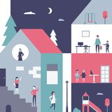 Kindheit - Begriffsillustration der flachen Designart Lizenzfreie Stockbilder