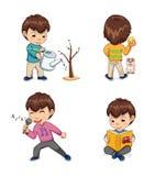 Kindheit der Jungen-Sammlungs-Vektor-Illustration Stock Abbildung
